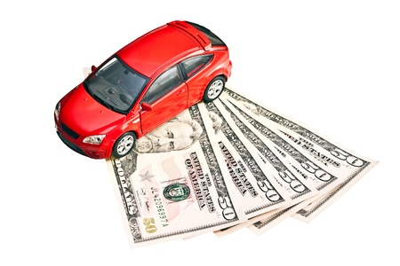 Car and money. Concept for buying, renting, fuel, service and repair costs