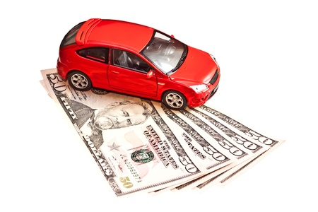 Car and money. Concept for buying, renting, insurance, fuel, service and repair costs Stock Photo