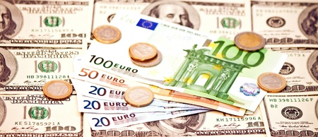 Two leading currencies - US Dollar and Euro  photo