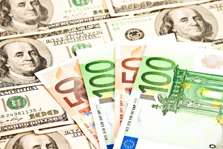 fifty dollar bill: Two leading hard currencies - US Dollar and Euro Stock Photo