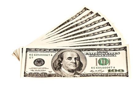 白で隔離 10 の 100 ドル紙幣