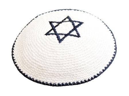 kippah: Sombrerer�a tradicional jud�a con la estrella de David bordada Foto de archivo