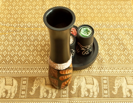 Tablecloth, vase and candles with image of elephants - souvenir from Asia or Africa