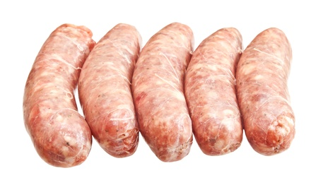 Raw meat sausages isolated on white background Stock Photo