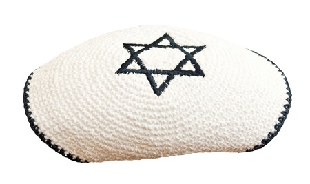 semite: Traditional jewish headwear with embroidered star of David