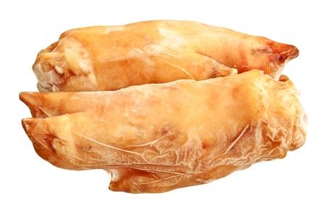 Raw pork legs on a white background   Stock Photo