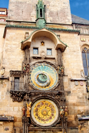 Famous astronomical clock at the Old Town square in Prague, Czech Republic, Europe photo