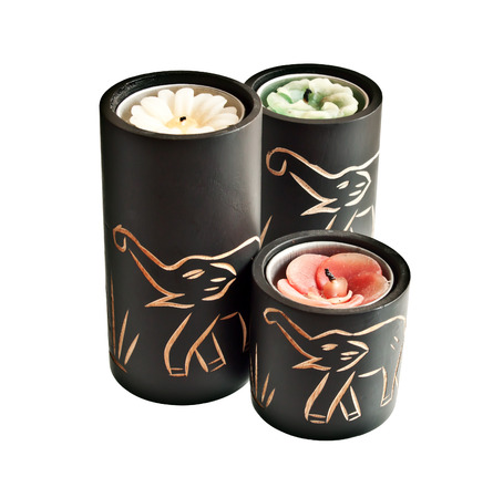 Candles with carved elephants on them - souvenir from Asia or Africa