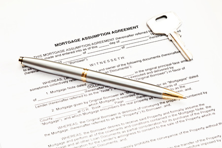 Mortgage Assumption Agreement With A Pen For Signature Stock Photo