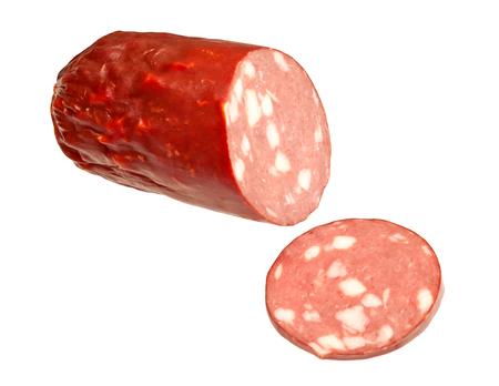 smoked sausage: Smoked sausage isolated on white background
