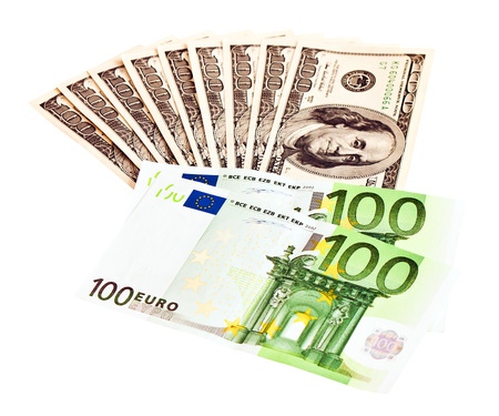 revaluation: Two leading hard currencies - US Dollar and Euro Stock Photo
