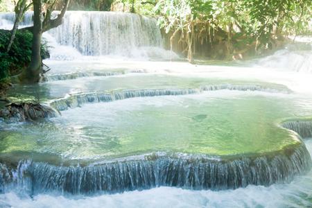 blue lagoon: Kuang Si Waterfall near Luang Prabang, Laos