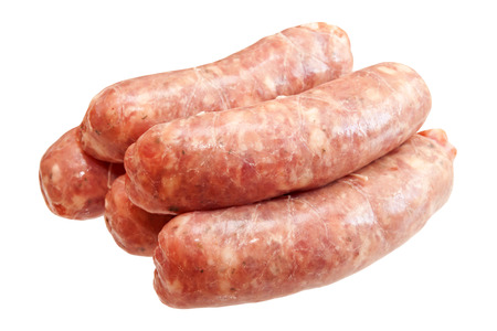Raw meat sausages isolated on white background Imagens