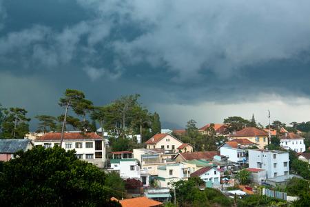 dalat: Panoramic view of Dalat city in rainy weather Stock Photo
