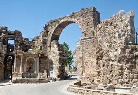 Gate of Vespasian in Side, Turkey Stock Photo