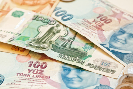 upvaluation: Two european currencies - Russian ruble and Turkish Lira Stock Photo