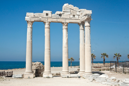 The Temple of Apollo in Side, Turkey, on sunset Stock Photo