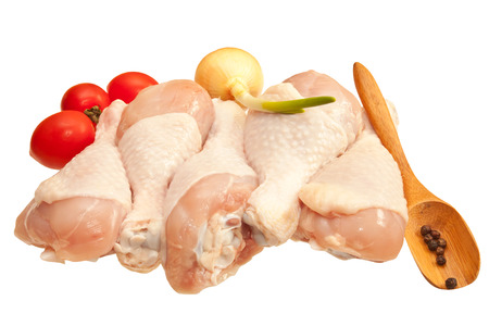 野菜、白い背景で隔離の鶏の生足 写真素材