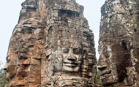 Bayon temple in Angkor Thom, Siemreap, Cambodia Stock Photo