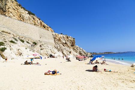 Tourists on famous Kaputas beach near Kas city in Turkey Stock Photo