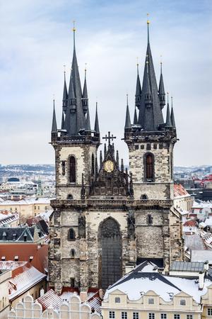 Church of Our Lady Before Tyn in Prague, Czech Republic 版權商用圖片