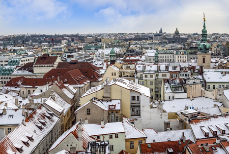 Panorama of Prague with its houses and landmarks in winter 写真素材