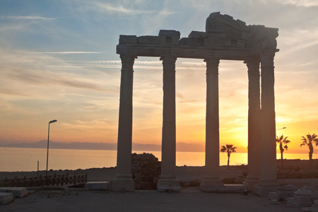 The Temple of Apollo in Side, Turkey, on sunset 写真素材