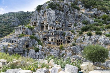 Famous rock-cut Lycian tombs in Myra (Demre), Turkey 写真素材
