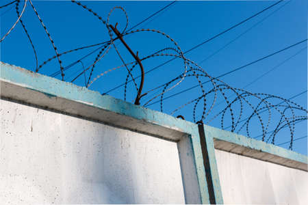 barb wire isolated: barbed wire against the clear blue sky