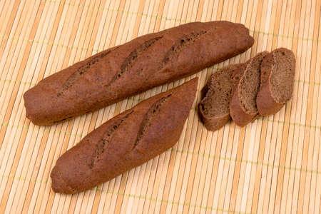 durum: bread from durum wheat on wicker mat of bamboo Stock Photo