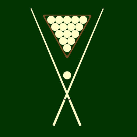 cue: cue and balls for billiards lay on a green background