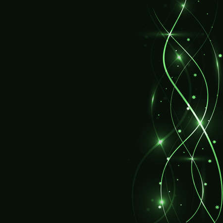 ripple effect: fantastic green lines form a pattern with stars on a dark green background