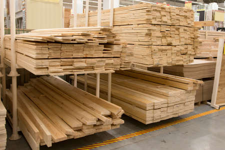 warehouse building: a wholesale warehouse building materials from wood Stock Photo