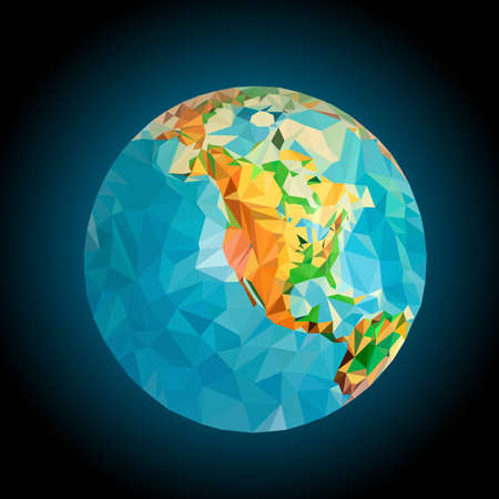 processed: North America on the globe processed triangulation mode
