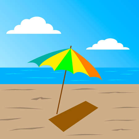 beach mat: beach by the sea on the blue sky clouds on the sand umbrella and mat