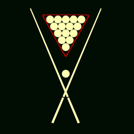 cue: cue and billiard balls on a black background