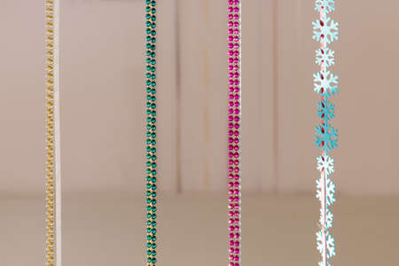 Christmas decoration colored beads hanging vertically