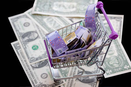 supermarket trolley full of euro notes costs dollars