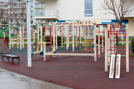 a modern playground on which children are interested to play