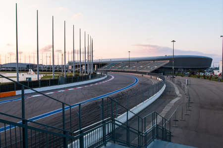 race track with stands for racing cars.