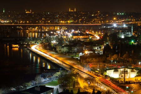 Night view of Istanbul from Pierre Loti Hill Stock Photo