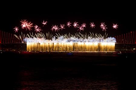 bogazici: Fireworks from Bosphorus Bridge