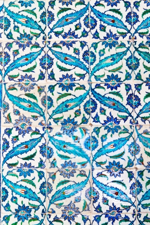 Handmade Blue Tiles from Topkapi Palace Stock Photo - 21352047