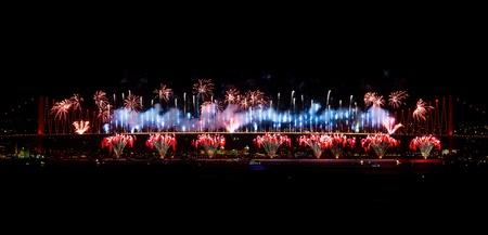 koprusu: Fireworks from Bosphorus Bridge in Istanbul, Turkey