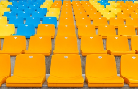 Empty seats of a grandstand Stock Photo