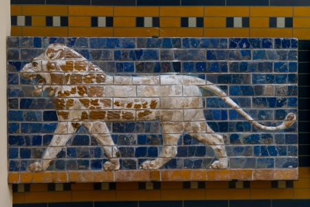 ishtar gate of babylon: Glazed brick panel from way to Ishtar Gate
