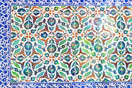 Handmade Blue Tiles from Topkapi Palace Stock Photo - 21503580
