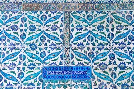 Handmade Blue Tiles from Topkapi Palace Stock Photo - 21627001