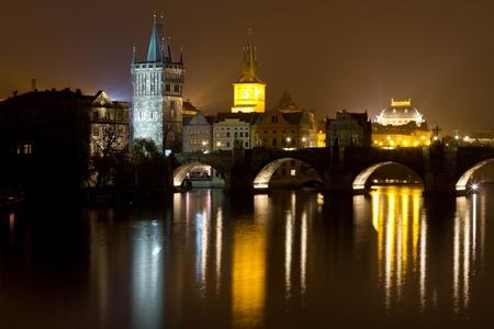 Charles Bridge at Night, Prague, Czech Republic photo