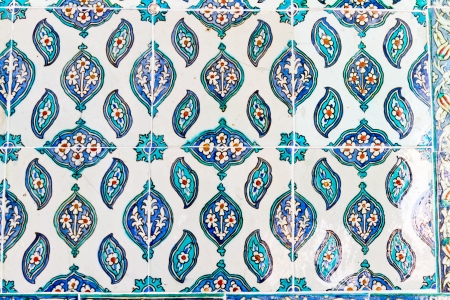 Handmade Blue Tiles from Topkapi Palace Stock Photo - 21718603